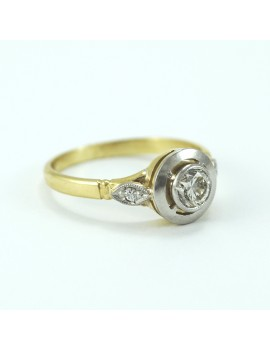18K GOLD RING WITH PLATINUM...