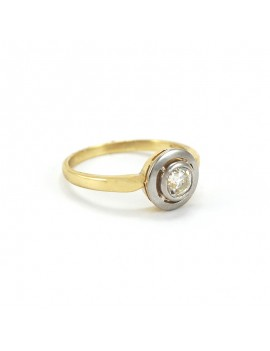 18K GOLD RING, PLATINUM AND...