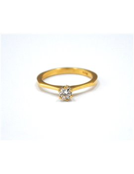 GOLD 18K RING AND SOLITARY BRILLIANT