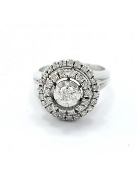 PLATINUM RING, 18K GOLD AND...