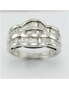 18K WHITE GOLD AND MODERN CUT DIAMONDS RING