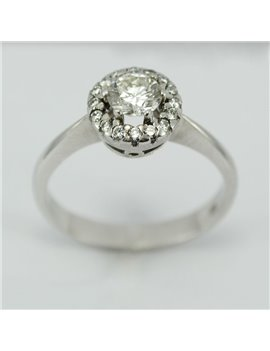 18 KTS WHITE GOLD RING AND MODERN-CUT DIAMONDS