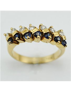 18K YELLOW GOLD RING WITH MODERN-CUT DIAMONDS AND SAPPHIRES