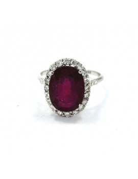 18K WHITE GOLD RING, RUBY...