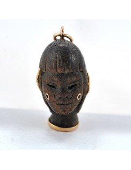 18K WOOD AND GOLD PENDANT