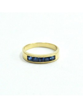 18K GOLD RING WITH 5 SAPPHIRES