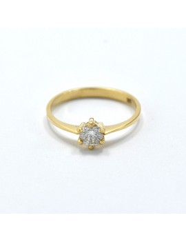 18K GOLD SOLITAIRE RING AND...
