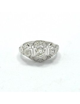 18K WHITE GOLD RING WITH...