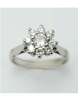 18K WHITE GOLD RING AND OLD-CUT DIAMONDS .