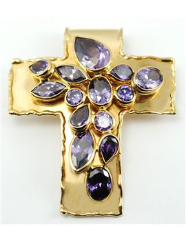 18K YELLOW GOLD CROSS AND AMETHYSTS