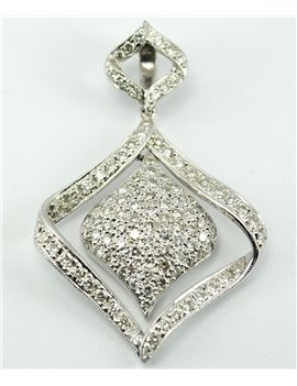 18K WHITE GOLD PENDANT AND MODERN-CUT DIAMONDS