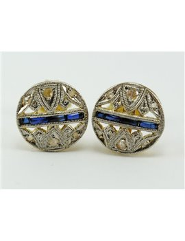 18K GOLD EARRINGS WITH OLD-CUT DIAMONDS AND SYNTHETIC SAPPHIRES