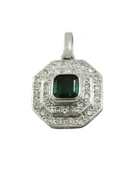 18K WHITE GOLD PENDANT WITH...