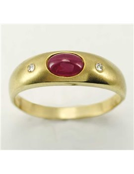 18K YELLOW GOLD RING WITH RUBY AND MODERN-CUT DIAMONDS