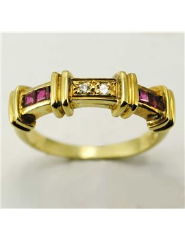 18K YELLOW GOLD RING WITH MODERN-CUT DIAMONDS AND RUBIES