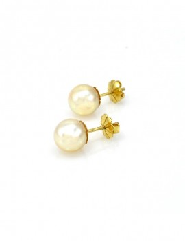EARRINGS 18K GOLD AND 9 MM...