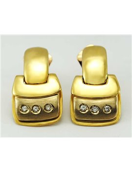 18K GOLD EARRINGS AND MODERN-CUT DIAMONDS