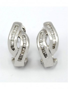 18K WHITE GOLD EARRINGS AND...