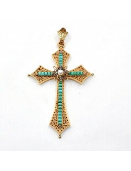 ANTIQUE CROSS PENDANT 18K...