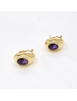 18K GOLD EARRINGS WITH OVAL...