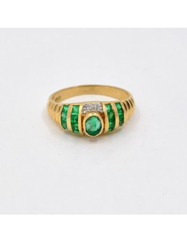 18K GOLD WITH EMERALD AND...