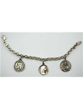 SILVER BRACELET WITH RELIGIOUS MEDALS