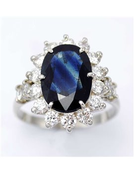 PLATINUM OLD-CUT DIAMONDS AND SAPPHIRE RING