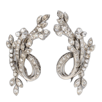 EARRINGS IN 18K WHITE AND...