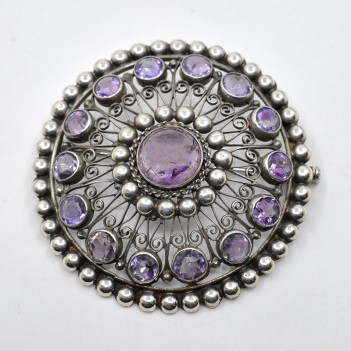 ANTIQUE SILVER AND AMETHYST...