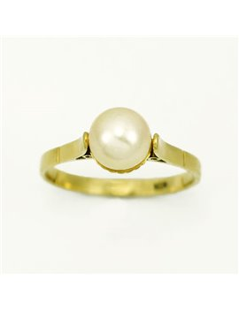 18k YELLOW GOLD RING AND CULTURED PEARL