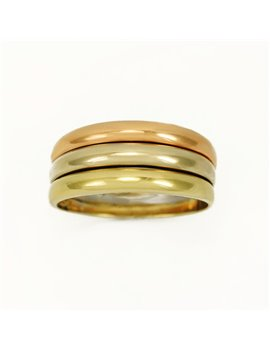 18k yellow, white and pink gold ring