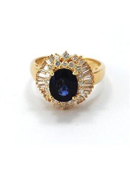 BEAUTIFUL MAYORS JEWELRY RING 18K GOLD,  BLUE SAPPHIRE AND DIAMONDS