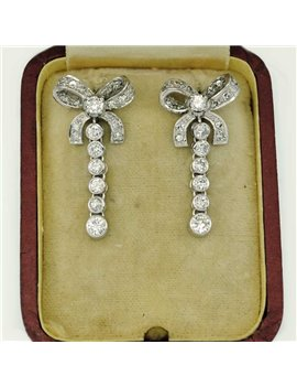 18K WHITE GOLD EARRINGS AND OLD CUT-DIAMONDS