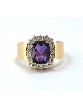 18k Gold Ring Brilliant and Amethyst