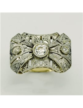 18k white gold ring and old-cut diamonds