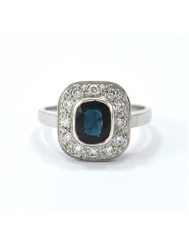 Platinum ring, brilliant and sapphire
