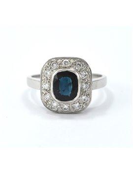Platinum ring, brilliant and sapphire