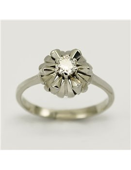 18K WHITE GOLD RING AND OLD CUT-DIAMOND