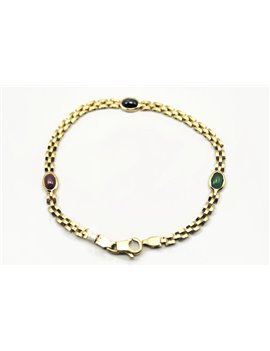 18K BRACELET WITH SAPPHIRE, EMERALD AND RUBIES
