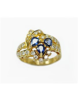 18K YELLOW GOLD RING WITH SAPPHIRE AND DIAMONDS