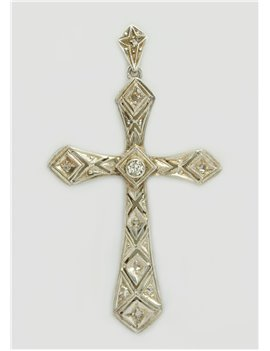CRUZ DE PLATA Y BRILLANTES