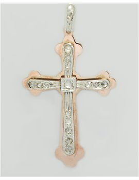 18K PINK GOLD CROSS WITH ALD CUT DIAMONDS