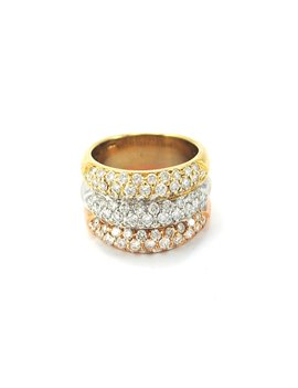 18k gold ring 3 colors and brilliant