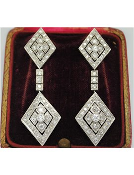18k WHITE GOLD EARRINGS WITH OLD CUT DIAMONDS