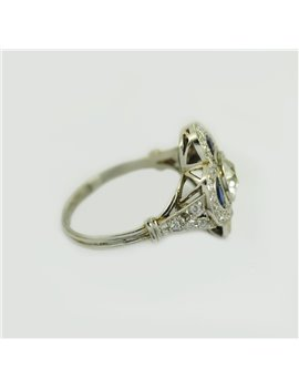 PLATINUM RING WITH OLD CUT-DIAMONDS AND SYNTHETIC ZAPPHIRES
