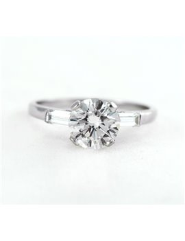 18K WHITE GOLD RING WITH OLD CUT DIAMOND