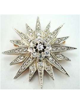18K GOLD BROOCH WITH OLD CUT DIAMONDS, DIAMONDS