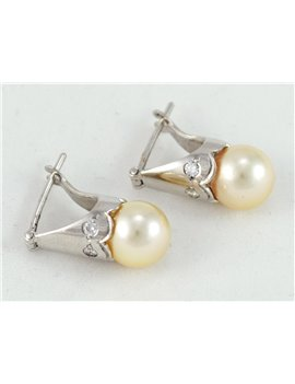 18K GOLD WITHE WITH CULTURED PEARL AND DIAMONDS EARRINGS