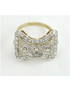PLATINUM, 18K GOLD RING WITH OLD CUT-DIAMONDS AND DIAMONDS