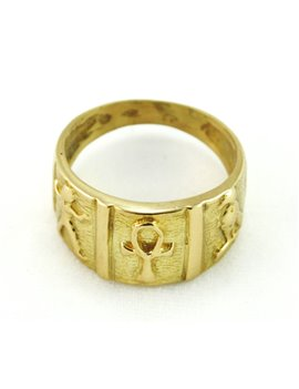 18K GOLD RING WITH EGYPTIAN SYMBOLS